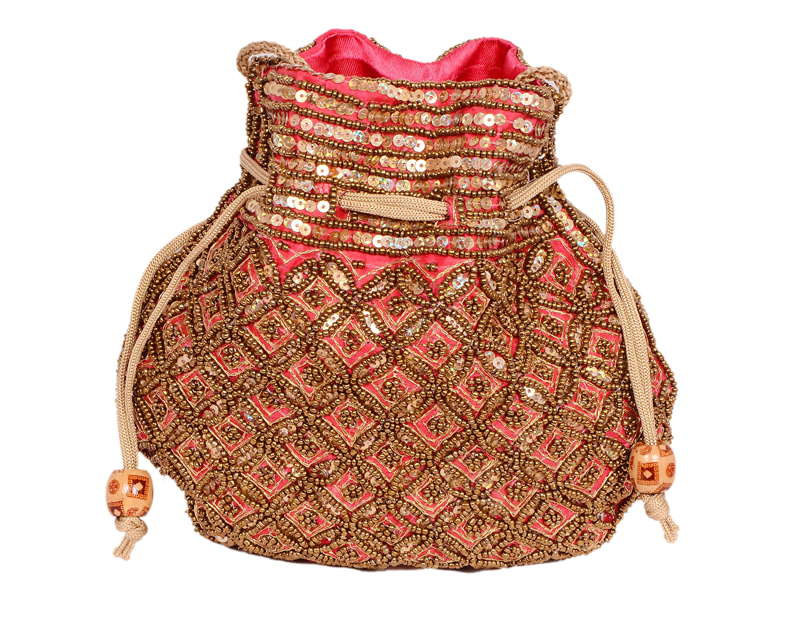 Indian sequence Potli Bag/ wedding purse/jewelery purse for girls & women (Base Color- Red)