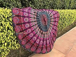 Raajsee Round Beach Tapestry Purple Mandala Throw/Boho Hippie Beach Blanket Roundie/Indian Cotton Bohemian Large Round Table Cloth-Home Decor/Yoga Mat Meditation Picnic Rug 69 inch