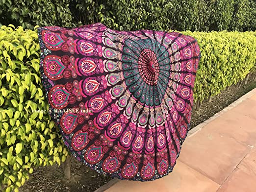 Mandala Tapestry Roundie Hippie Round Indian Yoga Beach Mat Bohemian Decorative