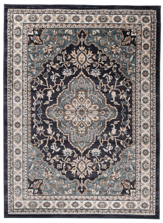 Traditioneller Klassischer Teppich für Ihre Wohnzimmer - Schwarz Anthrazit Creme - Perser Orientalisches Heriz Keshan Muster - Blumen Ornamente - Top Qualität Pflegeleicht