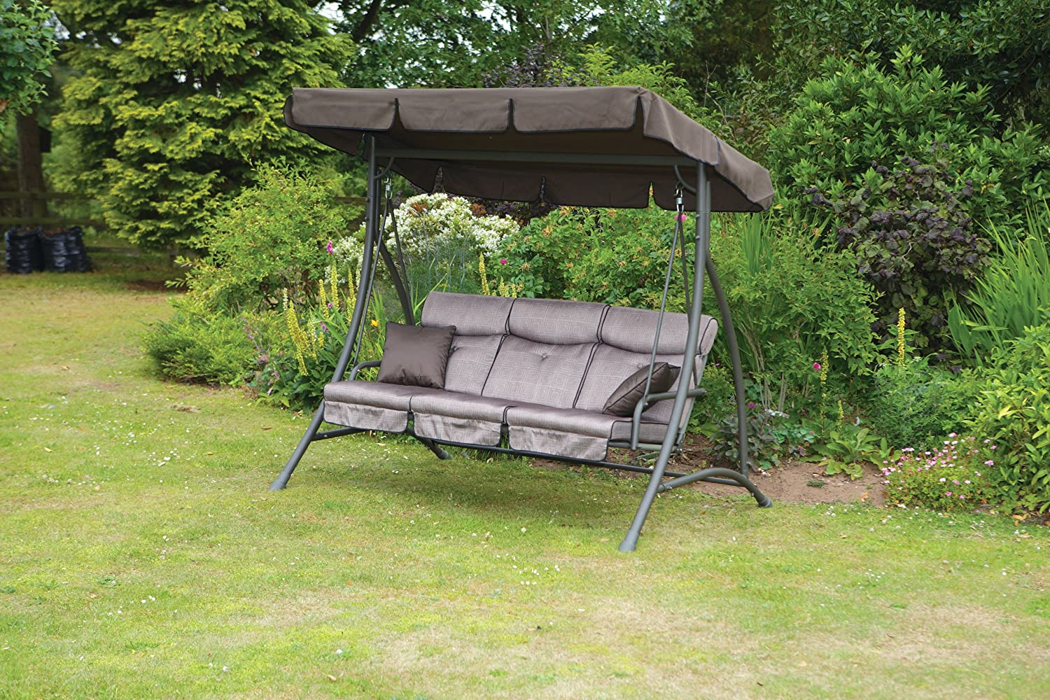 garden outdoor frame outsunny hammock double canopied with w swing living lounger x metal canopy and sun bed pillow