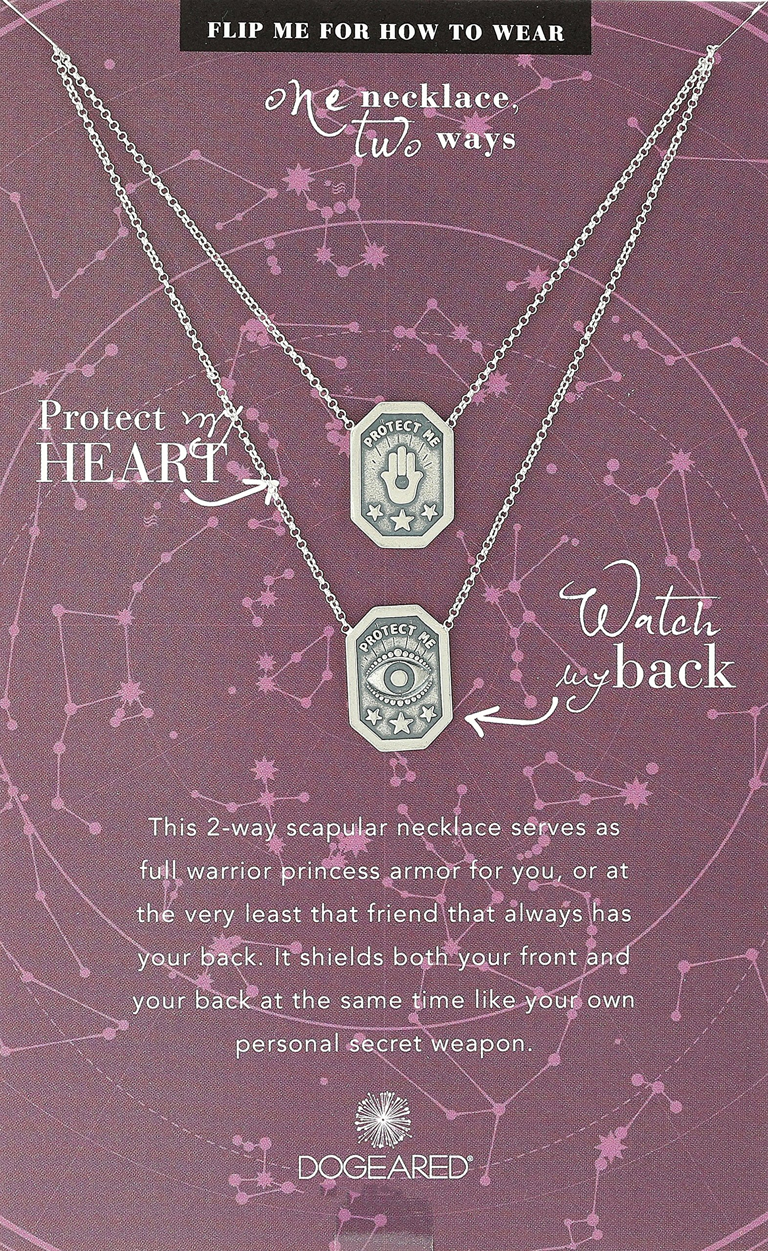 Dogeared Ancient Moon Rising Protect My Heart, Watch My Back, Protection Scapular Silver Chain Necklace, 28''