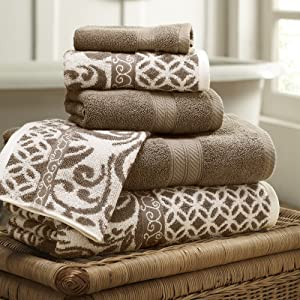 Amrapur Overseas | Trefoil Filigree 6 Piece Reversible Yarn Dyed Jacquard Towel Set (Mocha)