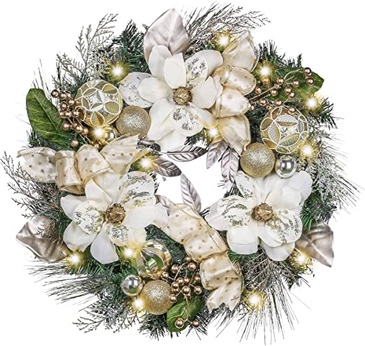 Hanging Holiday Decoration 27 Inch Champagne Gold Glitter Christmas Wreath for Front Door