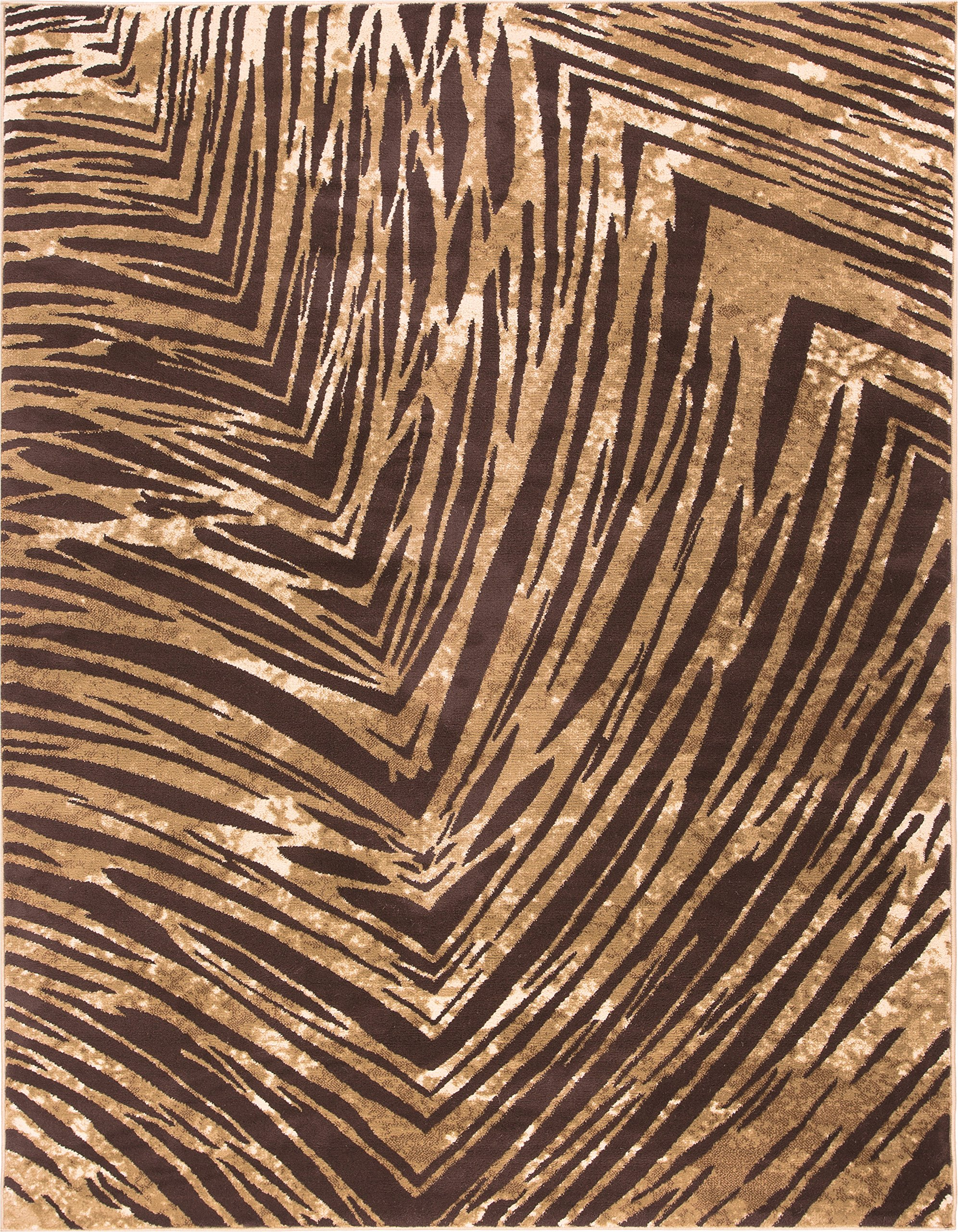 Eventful Spirit Brown & Beige Animal Print Area Rug Abstract Brushstrokes Zebra Stripes