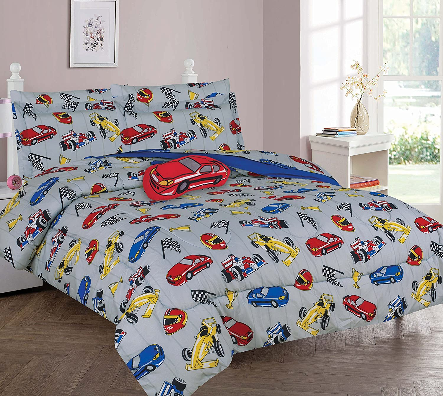 Twin & Full 6 Pcs or 8 Pcs Comforter/ Coverlet / Bed in Bag Set with Toy (Full 8 pcs, Car Race)