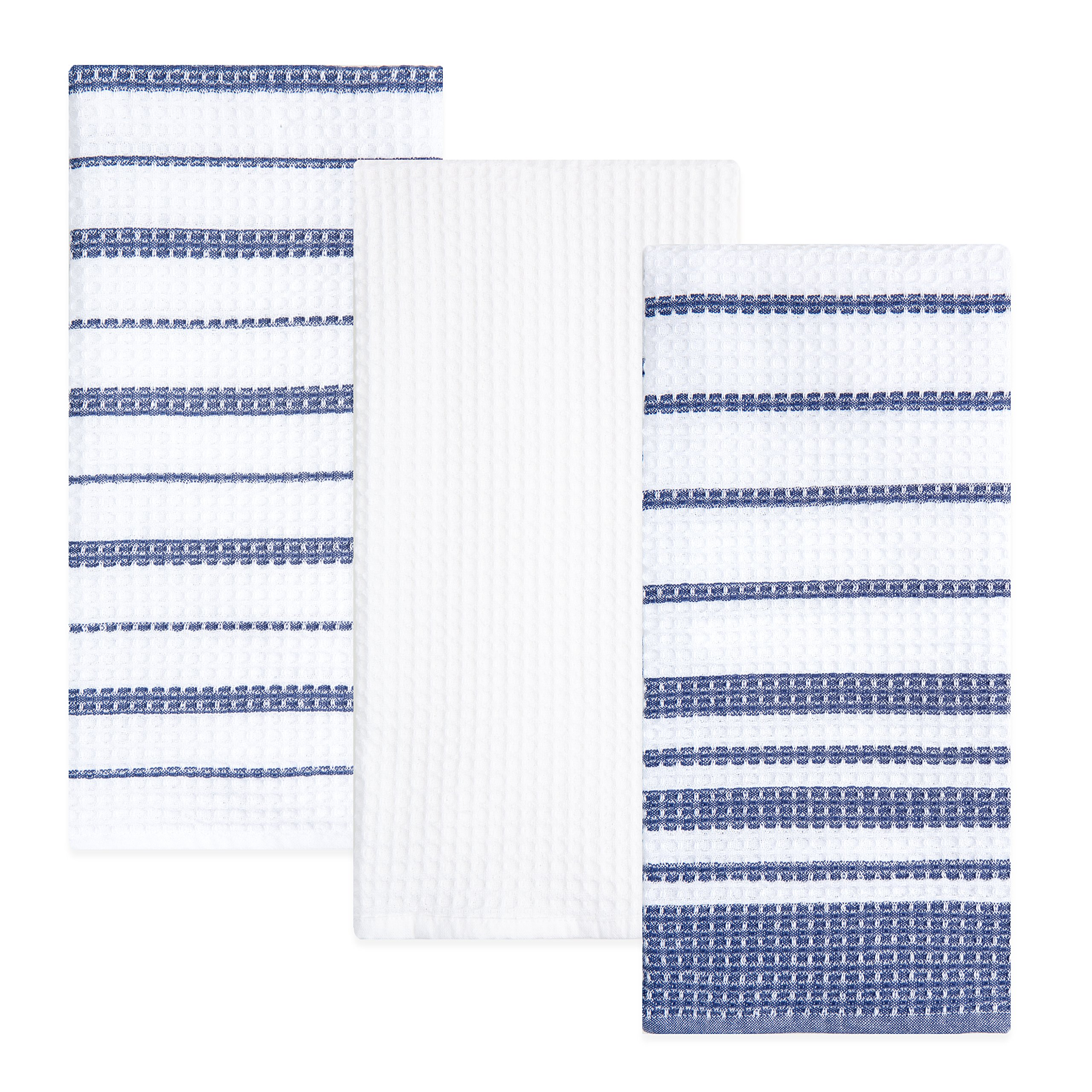 Sticky Toffee Cotton Waffle Weave Kitchen Dish Towels, Blue, 3 Pack, 28 in x 16 in
