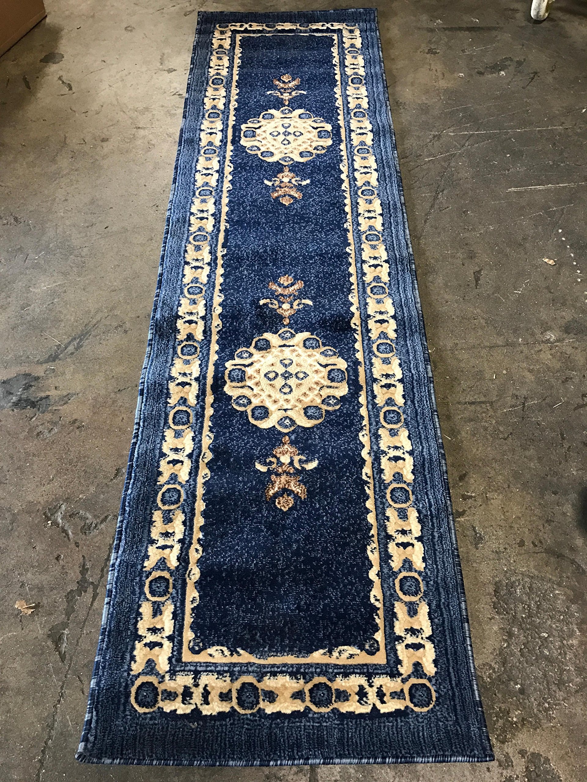 Traditional Persian Runner Area Rug Navy Blue Design 121 (2 Feet X 7 Feet 3 Inch) - Traditional Long Persian Runner Rug Navy Blue Design 121 Americana (2 Feet X 7 feet 3 inch ) Quality textured navy blue runner with dark blue, light blue,beige and cream. Easy to clean (stain resistant and soil proof)and very durable. - runner-rugs, entryway-furniture-decor, entryway-laundry-room - A1IneRo0gkL -