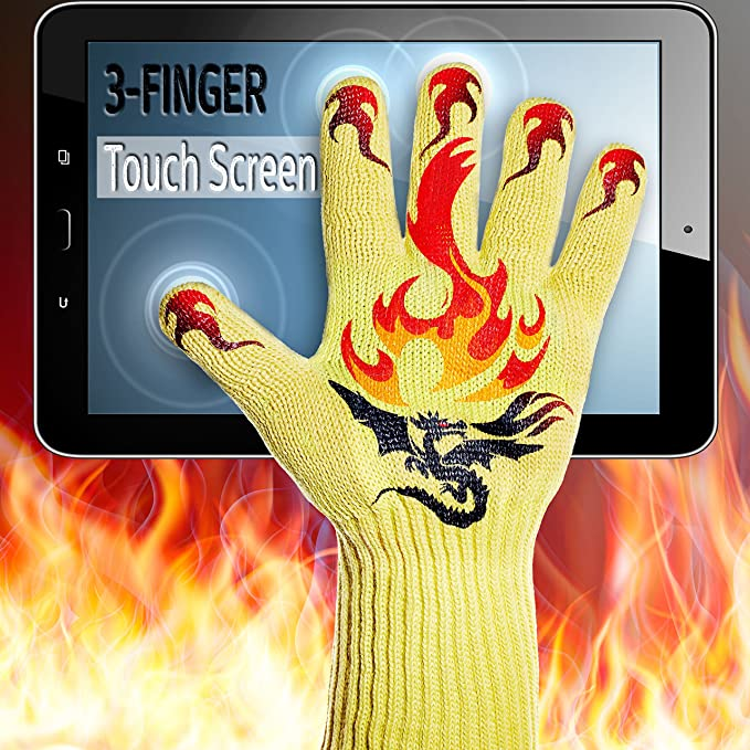 GRILL WITH NO FEAR! Oven BBQ Touch Screen Heat Resistant Cooking Gloves & Mitts for Grilling, Big Green Egg, Fireplace Accessories and Welding, Long, ...
