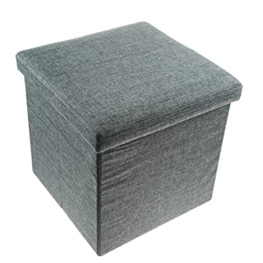 Unity Signature Foldable Storage Ottoman, 15 Inch - Strong & Sturdy - Space Saving - Polyester Linen (Denim Gray)