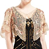 ArtiDeco Women's 1920s Shawl Sequin Beaded Art Deco Evening Cape Vintage Shawl Wraps