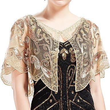 ab26435ae91cb4 ArtiDeco 1920er Jahre Retro Schal Umschlagtücher für Abendkleider Stola für  Hochzeit Party Gatsby Kostüm Accessoires (