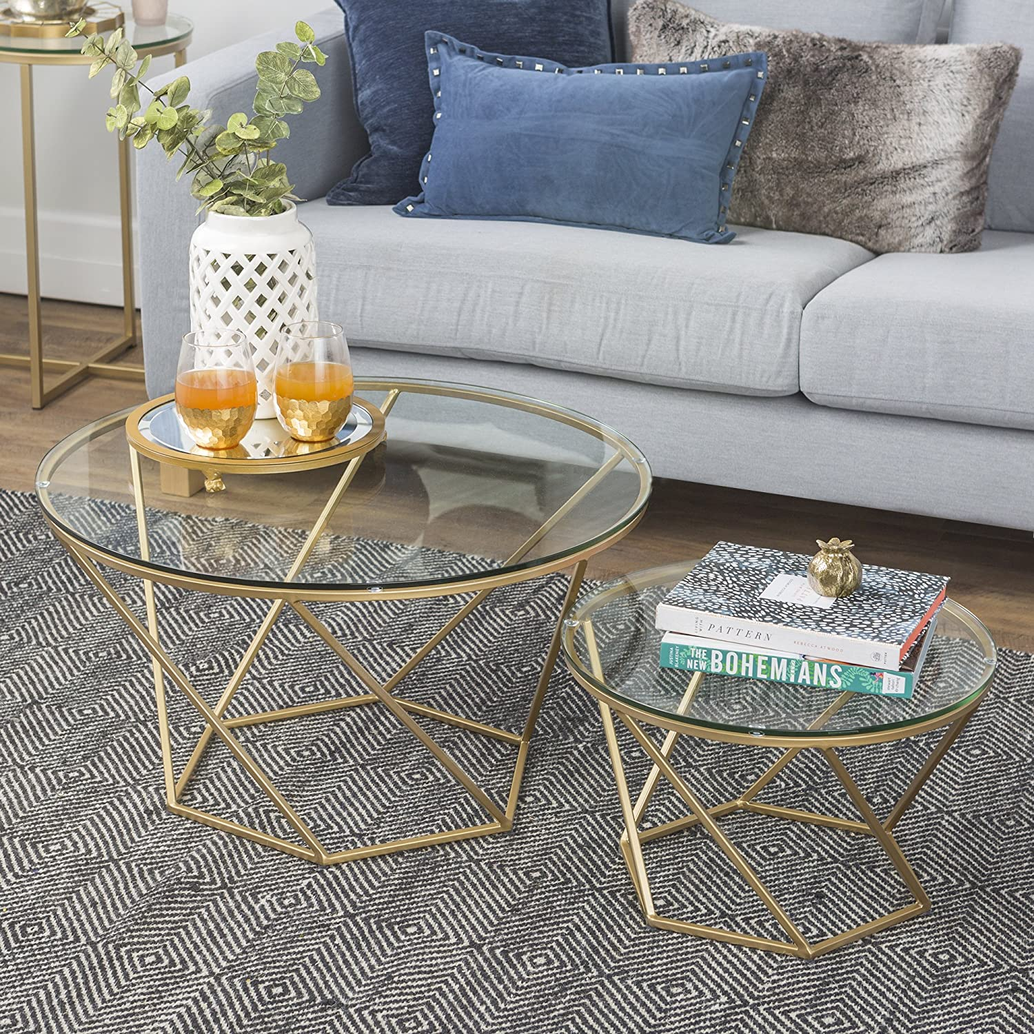 Amazon com new geometric glass nesting coffee tables in gold kitchen dining