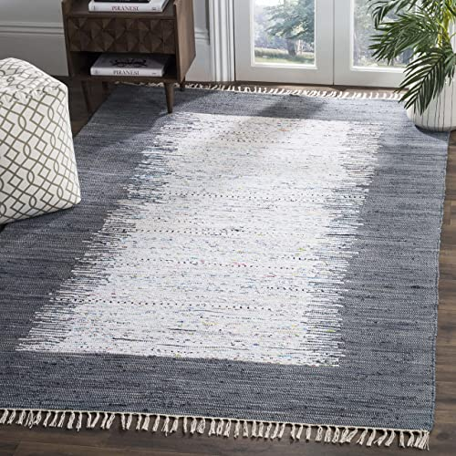 Safavieh Montauk Collection MTK711G Handmade Flatweave Ivory and Grey Cotton Area Rug 5' x 8'