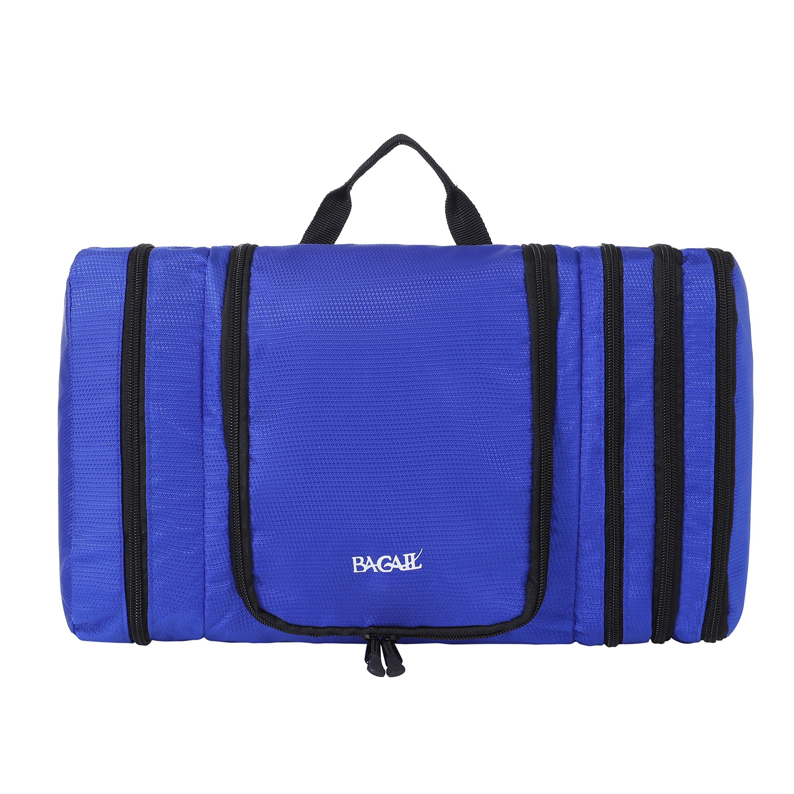 Bagail Men & Women Waterproof Flat Toiletry Kit, Portable and Spacious Travel Cosmetic Organizer Bag for Travel Accessories,Personal Items, Makeup and Shaving Dark Blue