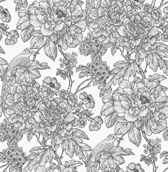 Nuwallpaper Nus3544 Black White Sudbury Peel Stick Wallpaper Blacks Amazon Com