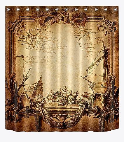LB Retro Vintage Medieval Map Caribbean Sea Artistic Shower Curtain Legend Voyage Sailing Design Decor