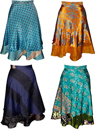 Wevez Pack de 5/Plus tama/ño de la Mujer Magic Wrap Sari Falda
