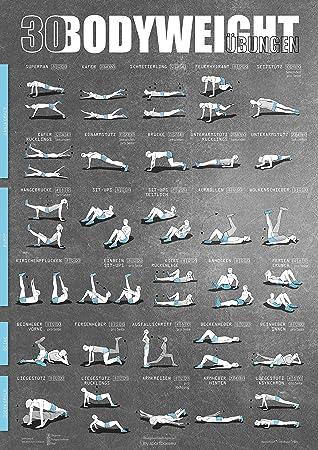 Windhund Poster DIN A1 mit Übungen ohne Geräte, Bauchtrainer ... on