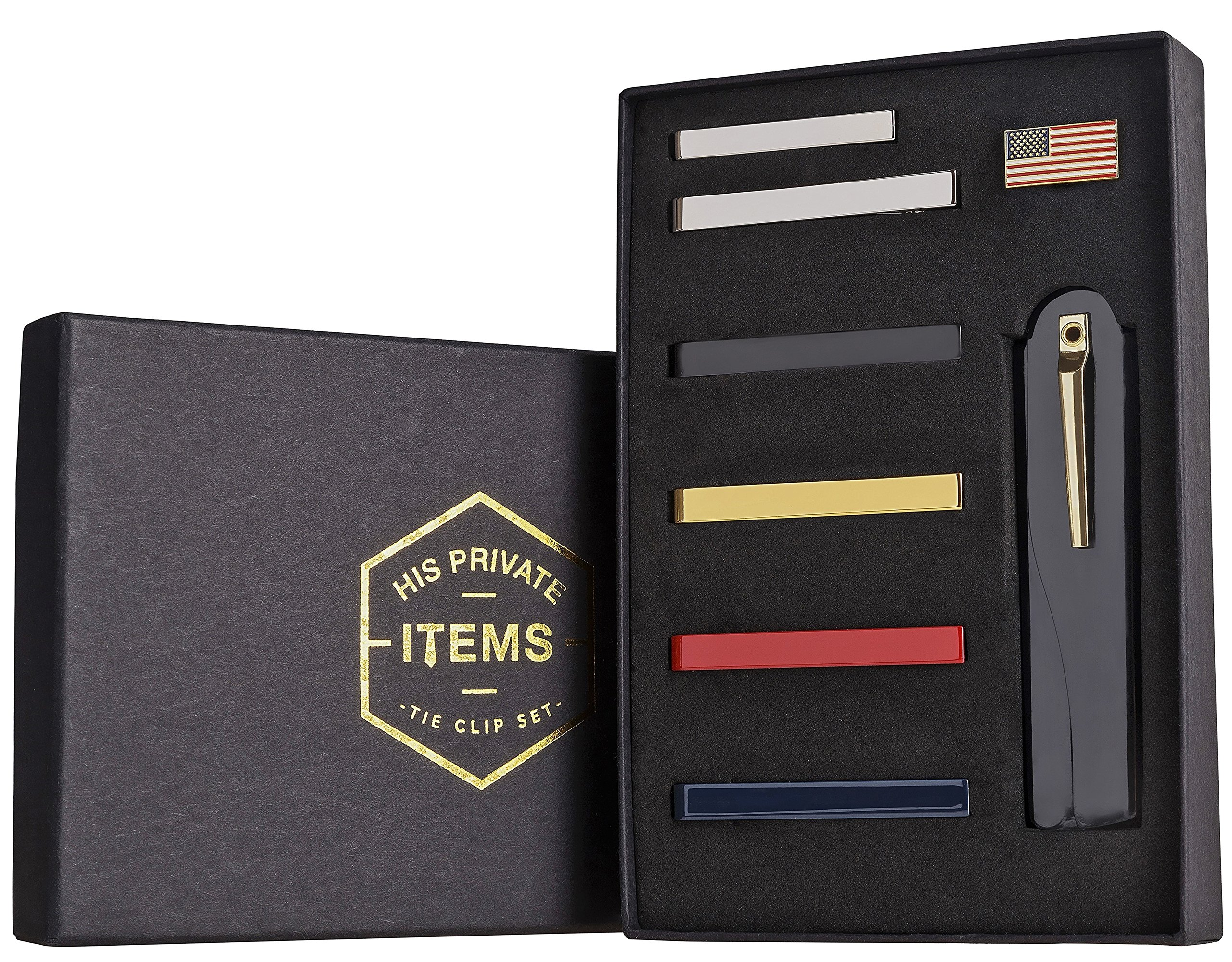 Tie Bar Clip Set for Men -[6 Pc]- Pinch / Hold Skinny & Regular Ties - Gift Box (with comb).
