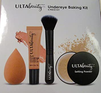 oval makeup brush ulta. ulta beauty undereye baking kit, 4 piece set, includes concealer, setting powder, oval makeup brush