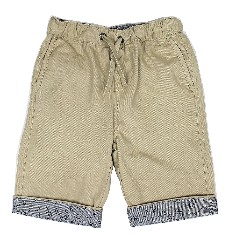 Bienzoe Boy's Summer Elastic Waist Print Cuff Twill Shorts