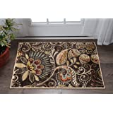 Universal Rugs Giselle Transitional Floral Brown Scatter Mat Rug, 2' x 3'