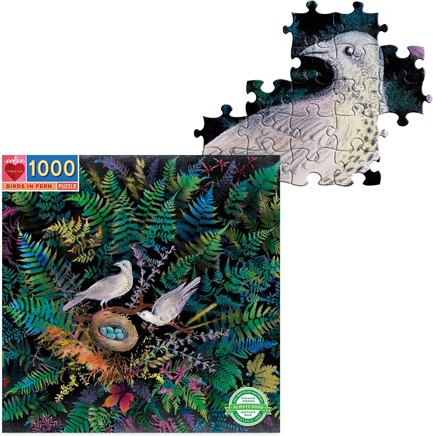 eeBoo's Piece and Love Birds in Fern 1000 Piece Square Adult Jigsaw Puzzle