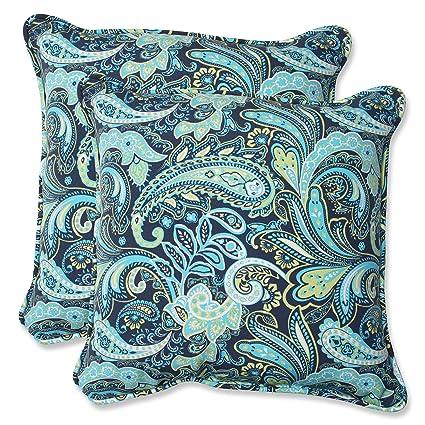 Amazon Com Pillow Perfect Outdoor Pretty Paisley Throw Pillow 18 5