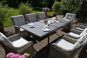 Bomey Rattan Lounge Set I Gartenmöbel Set Como 9 Teilig I Essgarnitur Mit  Polstern I