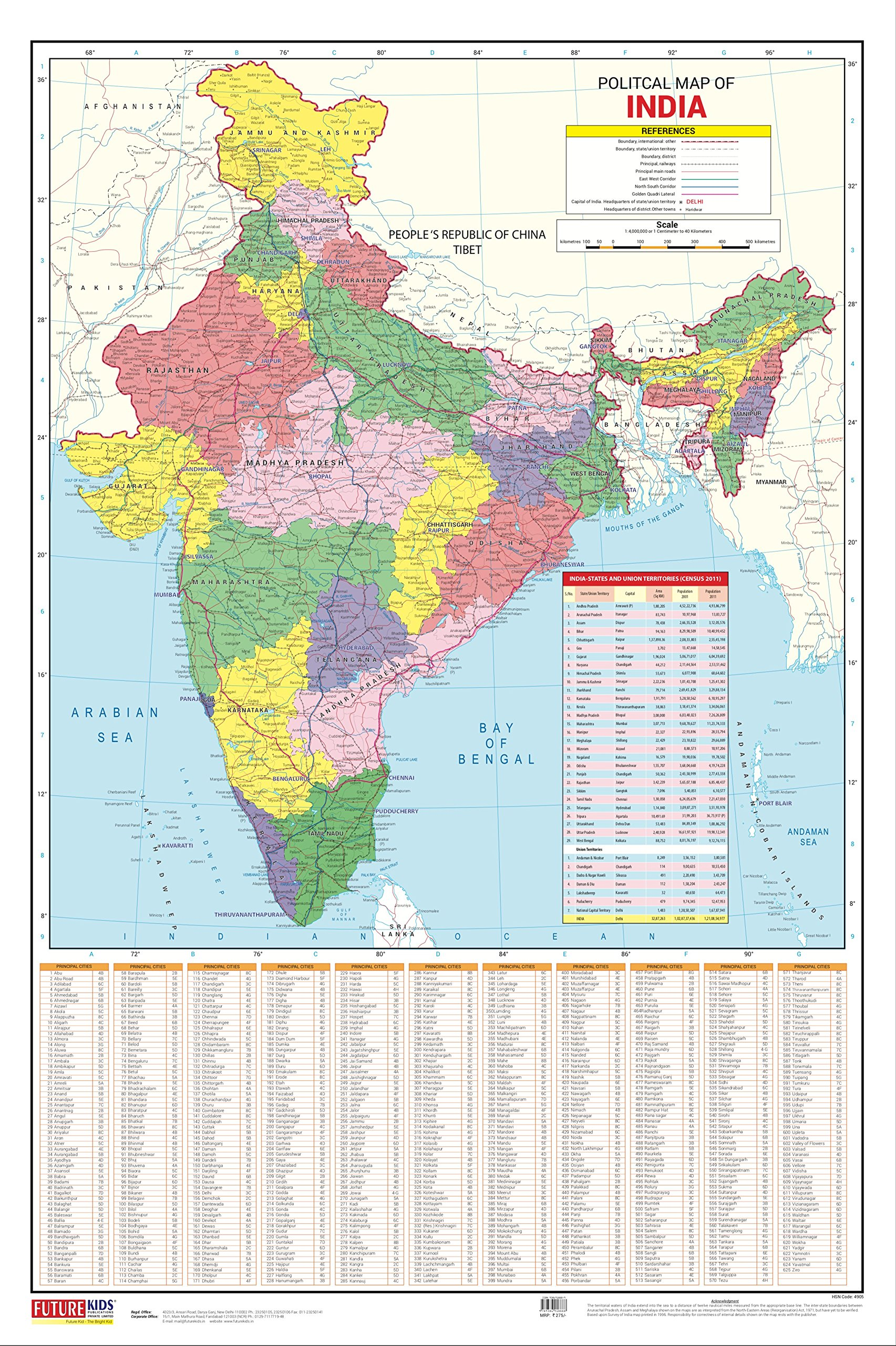 Ayodhya In India Map.India Map Political 50 8cm X 76 2cm Amazon In Future Kids