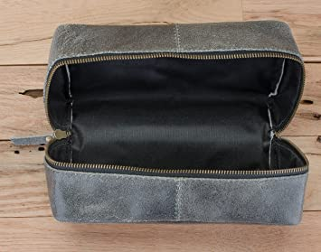 74514334d5fd Amazon.com   SupplyKick Leather Dopp Toiletry Travel Bag - Slate Grey    Beauty