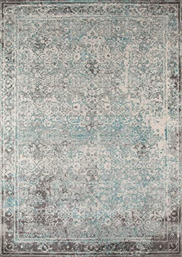Momeni Rugs Luxe Collection Area Rug, 7 10 x 9 10 , Turquoise