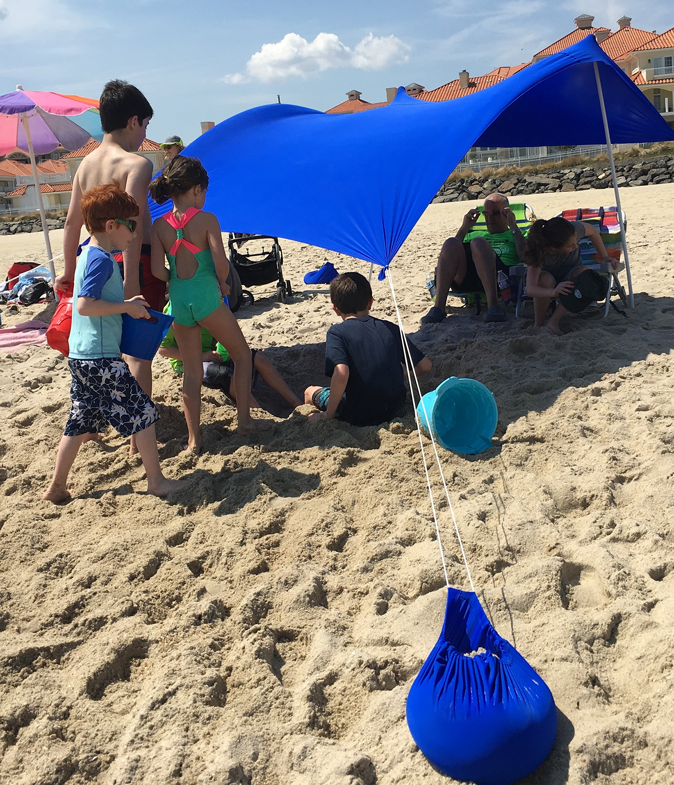 UV Light Sun shade Protection Beach Shelters - Lightweight Tent Canopy with Sandbag Anchors