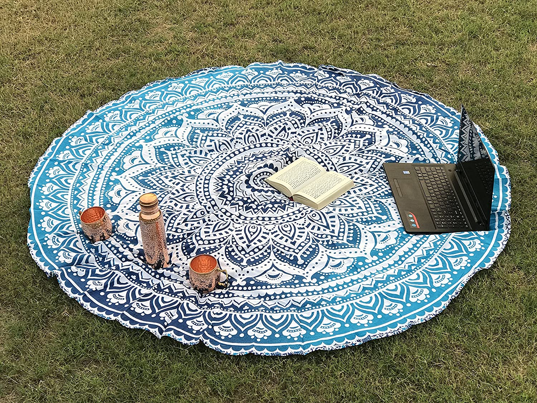 Tela redonda de mandala estilo hippie diseño indio bohemio, ideal como colcha, tapiz decorativo, mantel o toalla de playa, para meditación y yoga, 175 cm, ...