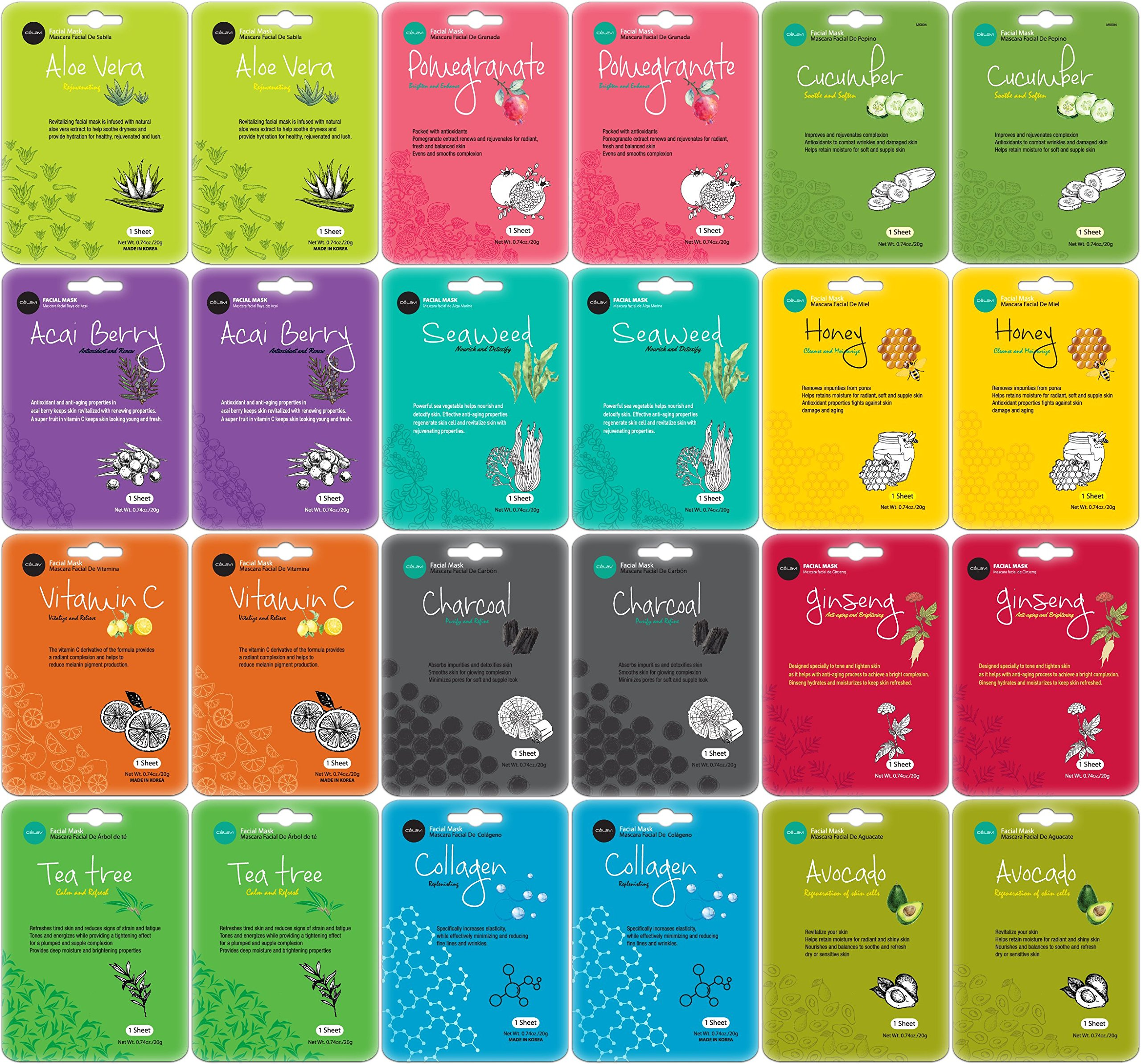 Celavi Collagen Facial Face Mask (24-Sheets) Classic Korean Skincare