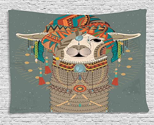 Ambesonne Llama Tapestry, Colorful Headwear Wearing Llama with Accessories Earrings Necklace Abstract Animal, Wide Wall Hanging for Bedroom Living Room Dorm, 60 X 40 , Gray Green