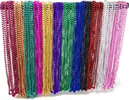 4E's Novelty Bulk 144 (12 Dozen) Mardi Gras Beads Necklaces 33 Inches Long 6mm Thick Round Metallic, 12 Colors, Great for Pa