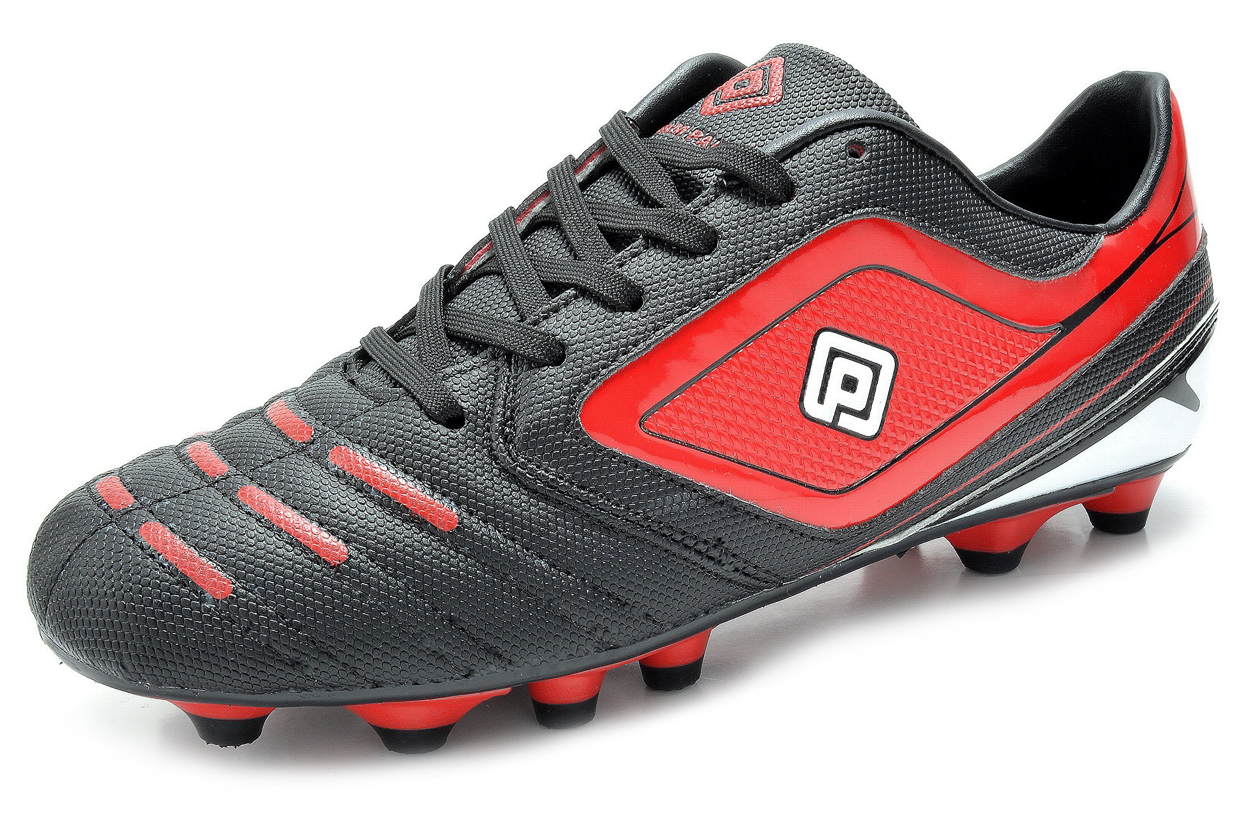 DREAM PAIRS 151028 Men's Sport Flexible Athletic Free Running Light Weight Indoor/Outdoor Lace up Soccer Shoes BLK-RED-WHT Size 9.5