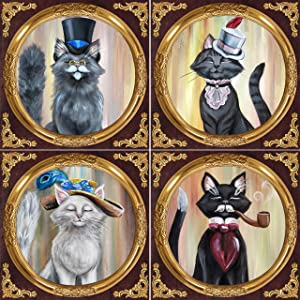 DWK - Fancy Felines - Cat Beverage Drink Coaster Assortment Set of Four (4) Colonel Meowstache Victorian Style Kitties with Hats by Artist Zoe Bones, Ceramic with Cork Back, 4-inch