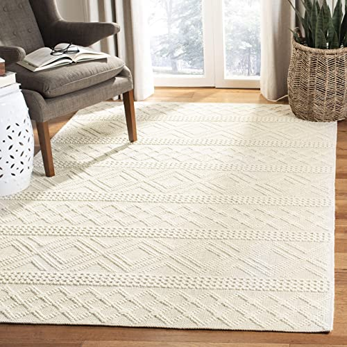 Safavieh VRM211A-9 Vermont Collection VRM211A Ivory Premium Wool Cotton Area 9 x 12 Rug,