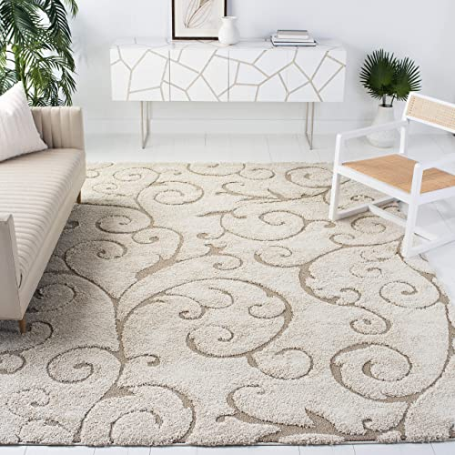 Safavieh Florida Shag Collection SG455-1113 Scrolling Vine Graceful Swirl Area Rug, 9 6 x 13 , Cream Beige