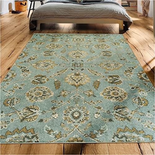 Superior 6mm Pile Height with Jute Backing, Durable, Fashionable and Easy Maintenance, Brookshire Collection Area Rug, 8 x 10 – Blue