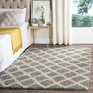 Safavieh Dallas Shag Collection SGD258G Grey and Ivory Area Rug (5'1  x 7'6 )