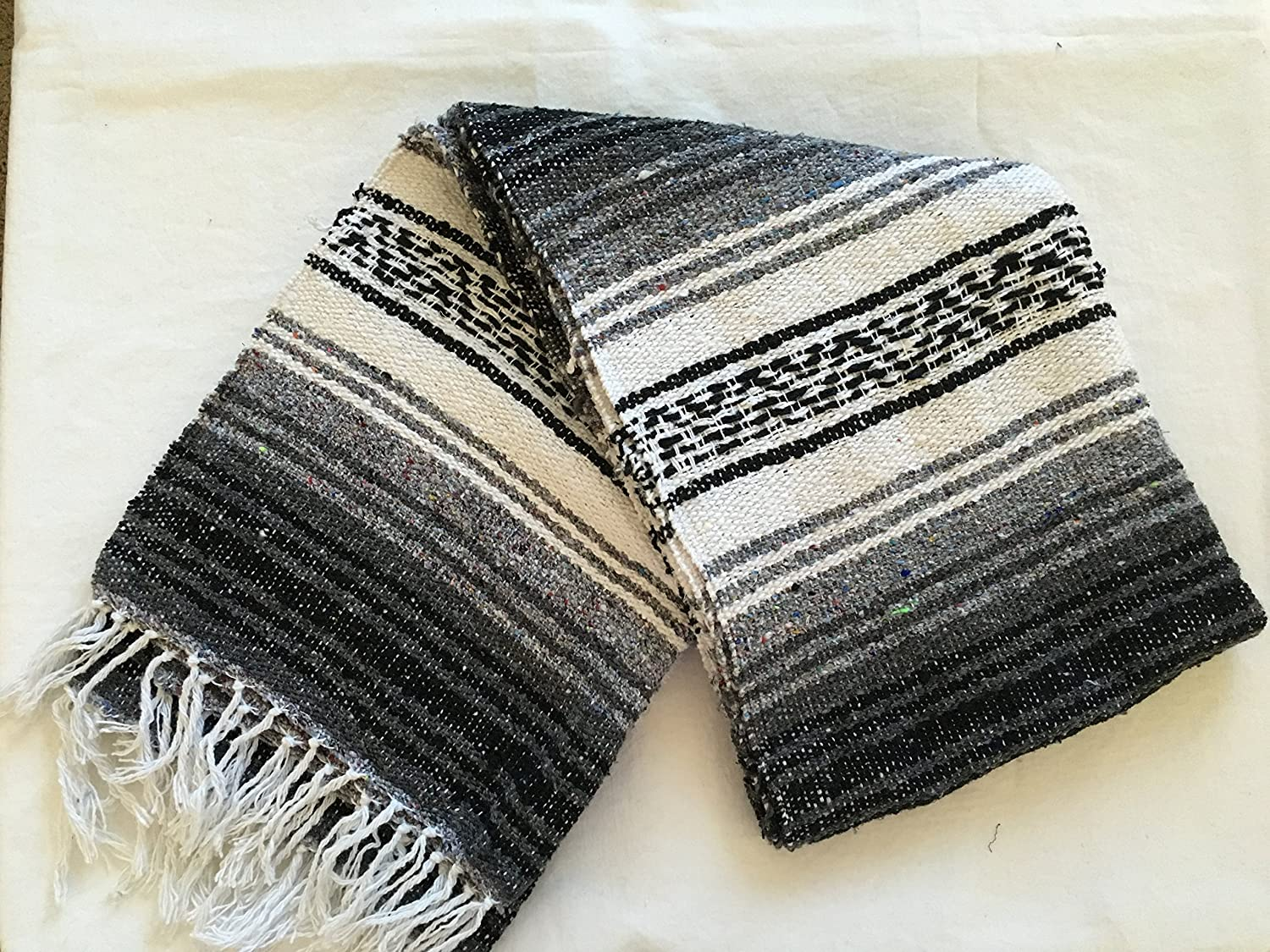 MEXIMARTs Authentic Mexican Falsa Blanket Hand Woven Black