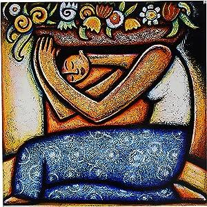 3dRose Flower Girl Mexican Art Colorful Ceramic Tile, 12-Inch