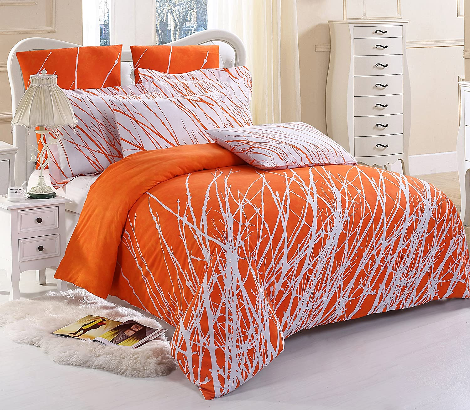 tangerine comforters comforter bedding grey orange queen adult sets full floral c set and white damask piece