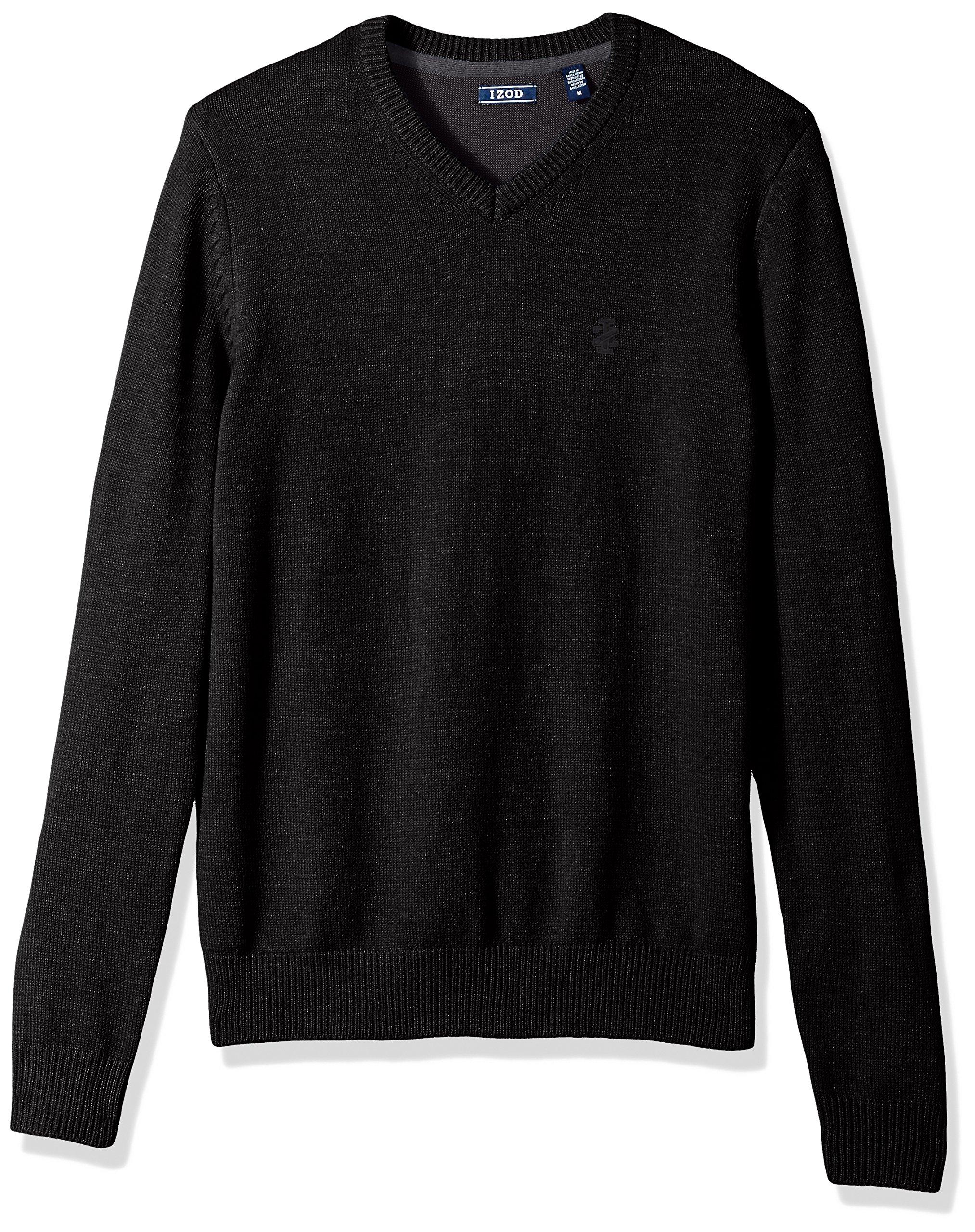IZOD Men's Fine Gauge Solid V-Neck Sweater, Black, Medium