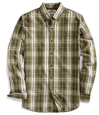 Goodthreads Mens Slim Fit Long Sleeve Plaid Slub Shirt Green Depths Small