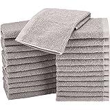 AmazonBasics Cotton Washcloth/Face Towel - Pack of 24, Grey